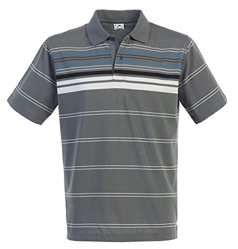 Gioberti Mens Striped Short Sleeve Polo Shirt, Charcoal, Size L (Ch Men Polo compare prices)