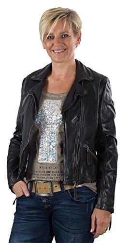 Colore Antracite in morbida giacca BIKER dinotech nappa con PEACE-simbolo a forma di agnello del Label Gipsy life style! Antracite Medium