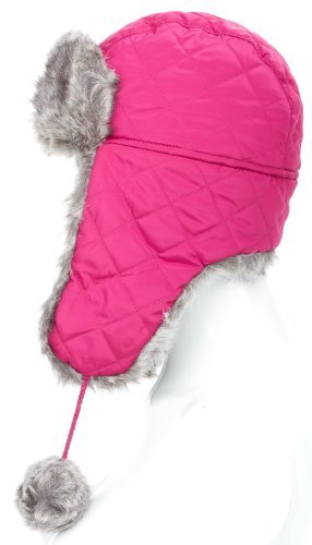 Unisex warm winter Quilted Nylon Trapper Hat with faux fur trim and pom poms one Size up to 57cm with two stunning colours to choose from