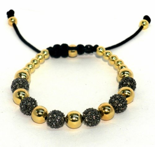 Macrame Bracelet with 8mm Gunmetal Black Diamond Crystal Pave and 14kt Gold Filled Beads with Macrame Lock and Gold Filled Ends Adjustable Handmade Unisex