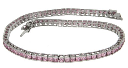 Cubic Zirconia Bracelet, 9ct White Gold, 19cm Length, Model 5.25.6252