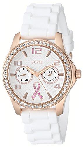 GUESS para mujer U0032L3 lazo rosa contra el cáncer reloj infantil con mecanismo de oro rosa y cristales-tono y blanco suave correa de silicona