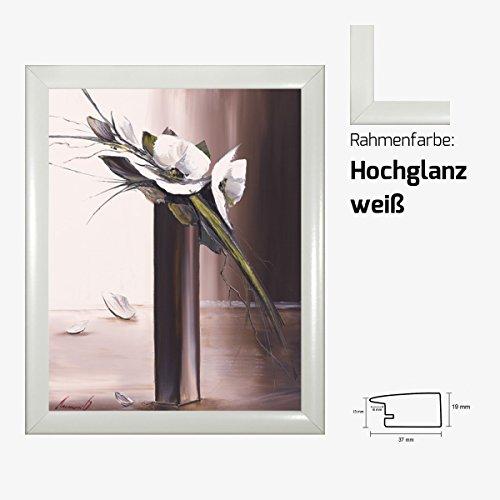 Kunstdruck TRAMONI - Bouquet blanc II Blumenmotiv weißer Blumenstrauß in Vase 40 x 50 cm mit MDF-Bilderrahmen & Acrylglas reflexfrei, viele Farben zur Auswahl, hier Hochglanz weiß
