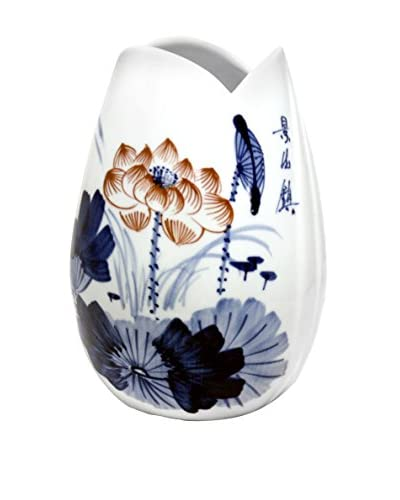 Asian Loft Ceramic Vase with Chinese Flower Pattern, White/Blue/Pink