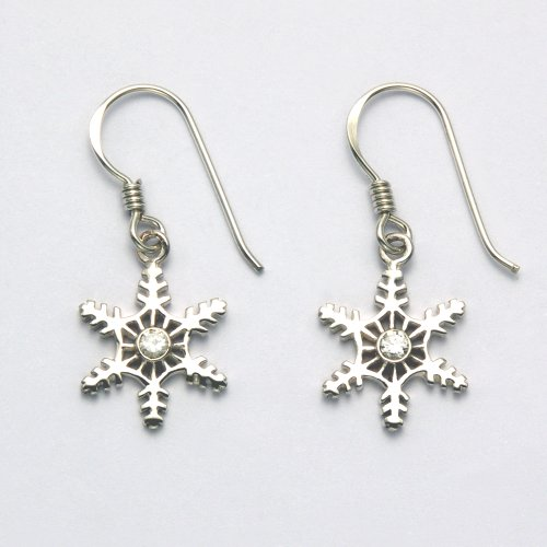 High Polish Sterling Silver 6 Points Snowflake French Wire Earrings with White Cubic Zirconia
