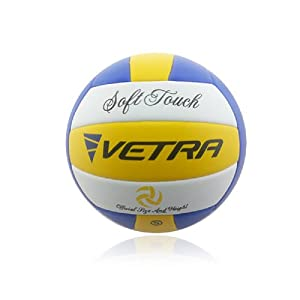 Vetra Volleyball Soft Touch Volley Ball Official Size 5 Yellow /Blue/ White Outdoor Indoor Beach Gym Game Ball New