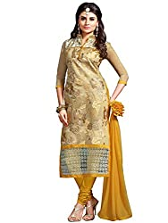 Kanchnar Women's Beige and Yellow Chanderi and Net Embroidered Party Wear Dress Material for Traditional Wedding Wear,Navratri Special Dress,Great Indian Sale,Diwali Gift to Wife,Mom,Sister,Friend