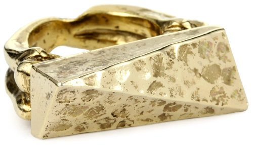 Low Luv by Erin Wasson Hammered Top Bone Gold Shank Ring, Size 8