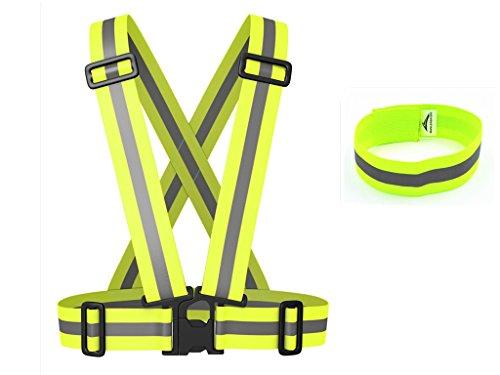 MANLERSPORT 2イン1サイクリング用、オートバイを乗るとき用、ジョギング用、ランニング用、サイクリング用、調整可能、反射的、安全ベスト、ハーネス