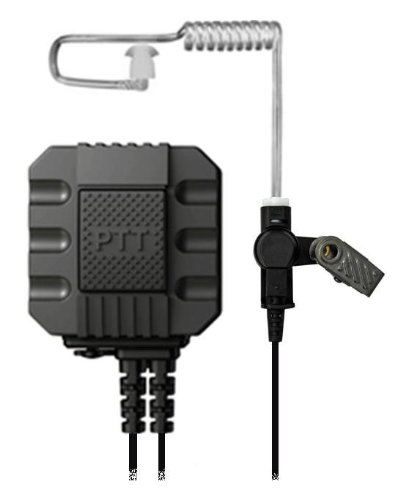 Tapaulk Tactical Elite Series Surveillance Kit W/ Large Forward Facing Ptt Button W/ Accessory Port For Optional Wired Weapon Ptt For Motorola Multipin Radios P02-A01_M4