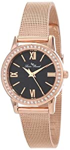 Lucien Piccard Women's LP-12006-RG-11 Veleta Black Textured Dial Swarovski Crystal Accents Rose Gold Ion-Plated Mesh Stainless Steel Watch