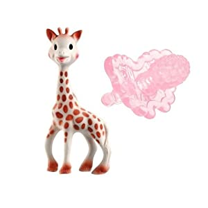 Sophie the Giraffe Teether and RazBerry Teether (Clear Pink) with Reusable Dainty Baby Bag Bundle