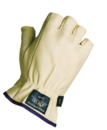 Decade 49301 Leather Anti-Vibration Half-Finger Right Hand Driver'S Glove With Gfom, Buff, Small