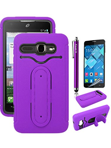 Cover-U® Alcatel One Touch Viper 7030Y (At&T) / Alcatel One Touch Sonic Lte A851L (Straight Talk) Metal Flexible Kickstand And Id Holder Dual Layered Combo Cover Purple Included [Premium Screen Guard + Cover U (Tm) Stylus Pen + Anti-Dust Plug]