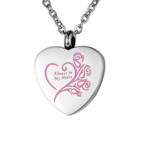 VALYRIA Memorial Jewelry 'Always in My Heart' Cremation Urn Pendant Necklace,Pink (Pink Pet Urns compare prices)
