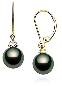 18k Yellow Gold AAA Quality Black Tahitian Cultured Pearl Diamond Leverback Dangle Earrings (8-9mm)