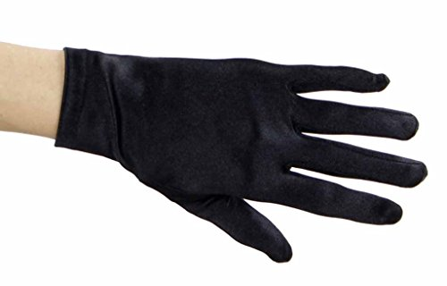 Beautiful Wrist Length Short Satin Gloves in 34 Colors Assorted Glove Colors: Black