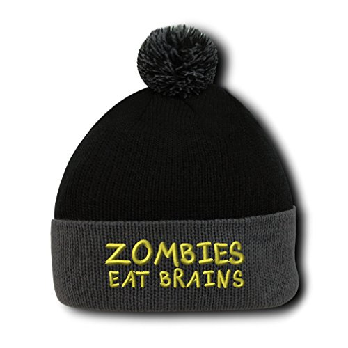 Zombies Eat Brains Embroidery Embroidered Pom Pom Beanie Skully Hat Cap Black Gray