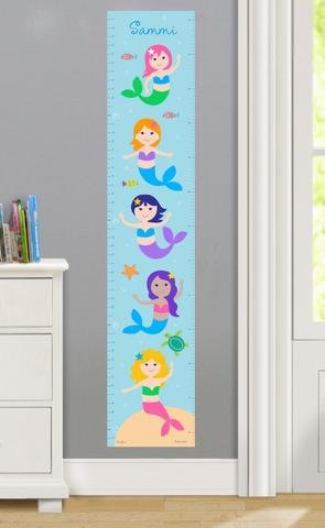 Mermaids Personalized Wall Decal Growth Chart By Olive Kids (Baby Growing Chart compare prices)