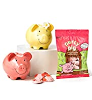Percy & Penny - Ceramic Piggy Bank & Percy Pig Sweets Hamper