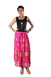 Indiankala4u Ethnic Design Crushed Cotton Long Skirt ,Hot Pink