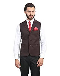 ManQ Wine Single Breast Three Button Slim Fit Party/Formal Men's Waist Coat