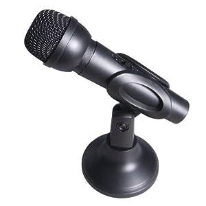 Computer Gear Desktop PC Handheld Microphone with adjustable stand - Black