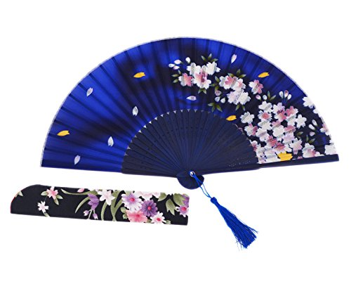 Amajiji Chinese / Japanese Vintage Retro Style Hand Held Folding Fans,100% Handmade Bamboo Wood Silk Pocket Purse Fan LXH (8.27