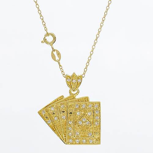 Gold Plated Silver 0.96 CTW Cubic Zirconia Ladies Necklace. Length 18 in. Total Item weight 6.7 g.