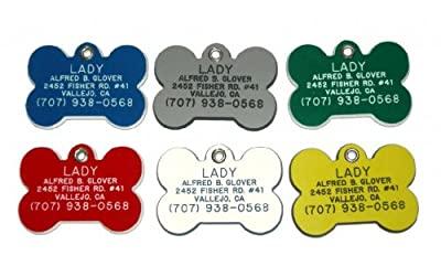 Bone Shaped Dog Cat Pet ID Tag Custom Engraved Acrylic Plastic 6 Colors & 3 Sizes to Choose From (Message Seller with Engraving Information)
