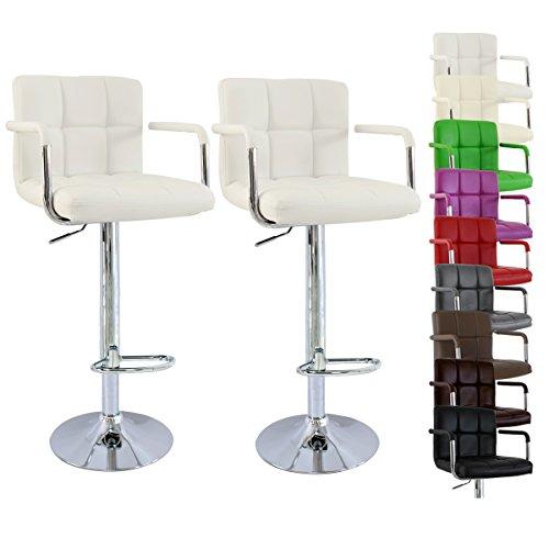 WOLTU-BH16-Serie-Design-Barhocker-mit-Armlehne-2er-Set-stufenlose-Hhenverstellung-verchromter-Stahl-Antirutschgummi-pflegeleichter-Kunstleder-gut-gepolsterte-Sitzflche-Wei