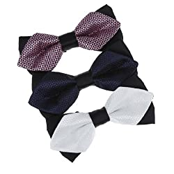 DBE3F34 Classic Gift Giving White Black Checkered Plum Midnight Blue Whole Sale for Evening Microfiber Pre-tied Bowties 3 Package Set By Dan Smith