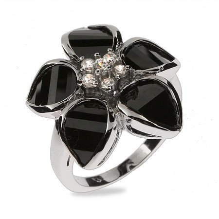 Delicate Black Onyx CZ Flower Sterling Silver Ring Size 7 (Sizes 5 6 7 8 9 Available)