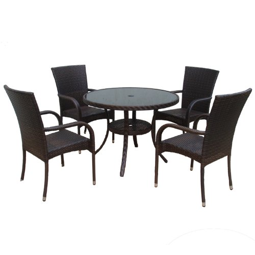 Dunloe Rattan Effect Indoor/ Outdoor Furniture Set includes Round Table/ 4 Chairs (5 Pieces)