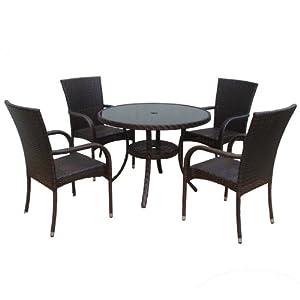Kurtis Dunloe Rattan Effect Indoor Outdoor Furniture Set Includes Round Tabl