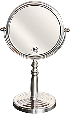 DecoBros 6-Inch Tabletop Two-Sided Swivel Vanity Mirror with 8x Magnification, Nickel