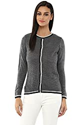 Annabelle by Pantaloons Women's Round Neck Cardigan (205000005619371, Grey, Small)