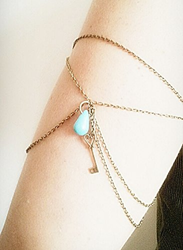 Armlet-Slave-Bracelet-Chain-upper-arm-Silver-Chain-Charm-handmade-bohemian-boho-vintage-fashion-M-10-12