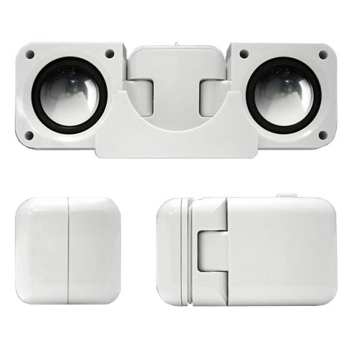 Portable Folding Speakers for iPods & MP3 Players – White