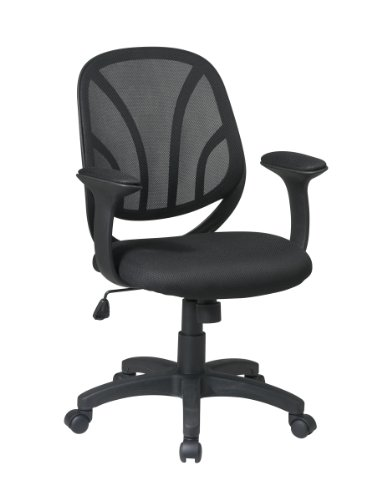 Office Star Screen Back Mesh Seat Chair with Mesh Fabric Padded T Arms
