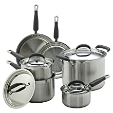 KitchenAid 75826 Gourmet Essentials 10-Piece Brushed Stainless Steel Cookware Set