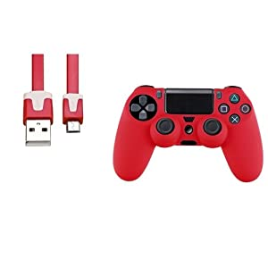 CommonByte Red Silicone Skin PS4 Controller Case+3FT Red Micro USB 2-in-1 Flat Noodle Cable For Sony PlayStation 4
