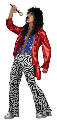 1970s Glam Heavy Metal Hero Costume. Includes Zebra pants with elasticated waist (for an easy fit) and jacket.