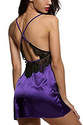 Avidlove Women Strap Lingerie Enchanting Satin Chemise Lace Nightgowns