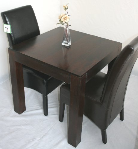 Homescapes - Dakota - Square 80 x 80 cm Dining Table  &  2 Leather Vibo Scroll Back Chairs - Dark - 100% Solid Mango Hard Wood - ( No Veneer ) Hand Crafted Furniture