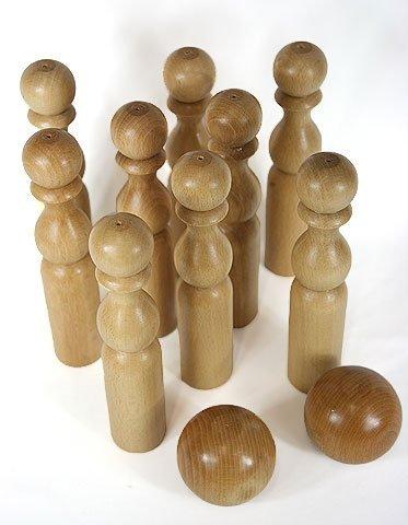 Jeu de 9 quilles de 24 cm + 2 boules en bois, artisanat Français