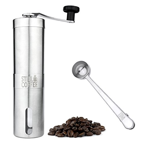Manual-Coffee-Grinder-Professional-Heavy-Duty-Stainless-Steel-with-Adjustable-Ceramic-Burr-Portable-Handheld-Mill-Offers-Consistency-And-Precision-For-Any-Brewer-Includes-Stainless-Steel-Spoon