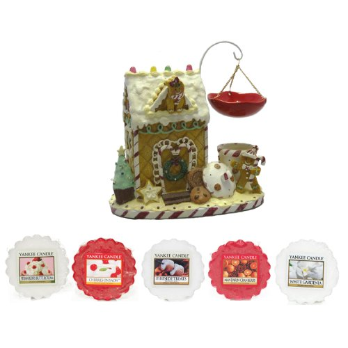 Yankee Candle - Gingerbread - Hanging LED Wax Potpourri Tart Burner With Five Scented Wax Tarts (Including: 1x Strawberry Buttercream, 1x Mandarin Cranberry, 1x White Gardenia, 1x Cherries On Snow, 1x Fireside Treats)