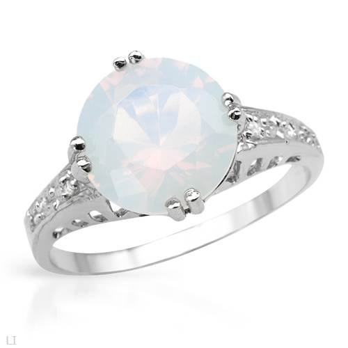 Ring With 2.61ctw Diamonds and Created Opal Made of 925 Sterling silver (Size 7)