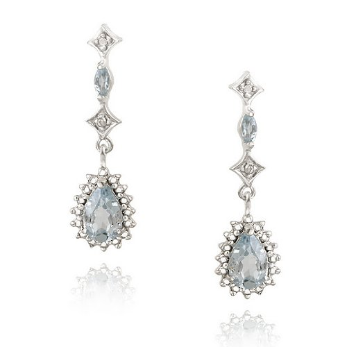 Sterling Silver Blue Topaz & Diamond Accent Teardrop Earrings
